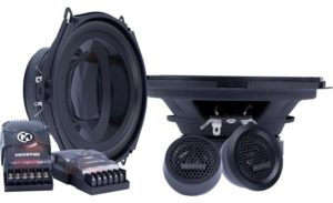 "component speaker system includes two 5""x7"" woofers, 2 tweeters, 2 external crossovers polypropylene woofer with polyurethane surround polypropylene dome tweeter 2-way external crossover handles up to 50 watts RMS (100 watts peak power) frequency response: 93-20,000 Hz sensitivity: 89 dB woofer top-mount depth: 2-1/8"" woofer grilles not included warranty: 1 year"