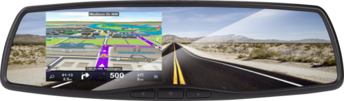 The Intelligent Rearview Mirror with DVR and GPS Navigation Intelligent Rearview Mirror comes equipped with GPS Navigation (built-in map software) and Forward Facing DVR – GPS Navigation (4.3-inch) – Forward Facing DVR Dash Camera with Included 8GB Card – Video Auto-Trigger Switching for Back Up Camera – Selectable Viewing Format for Navigation (2D, 3D or Turn-by-Turn) – Natural Sounding Text to Speech™ – MicroSD Card Slot – Standard Vehicle Mount (VSM-AS) Included